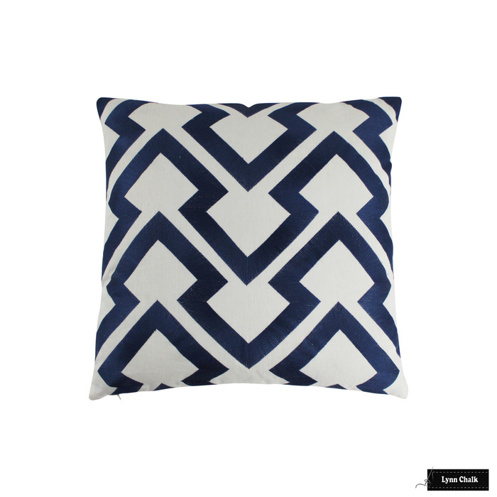 Brunschwig & Fils Lightning Bolt Indigo Pillow 24 X 24