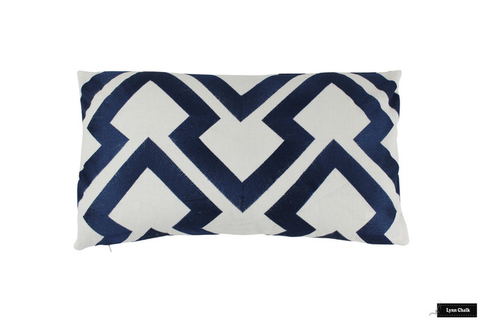 Brunschwig & Fils Lightning Bolt Indigo Pillow 14 X 24
