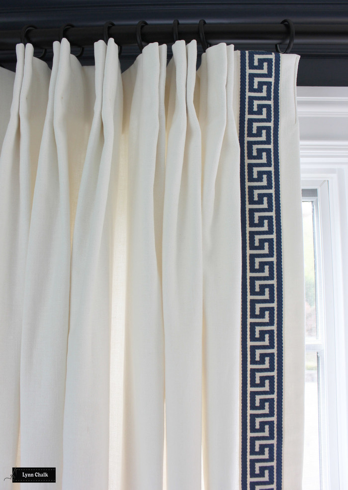 Custom Linen Drapes with Fabricut Athens Key Sapphire Trim