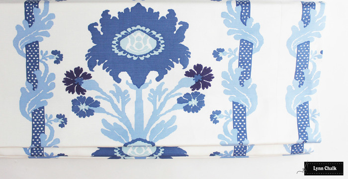 Quadrille Henriot Floral Multi Blues Roman Shade