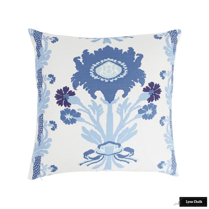 Quadrille Henriot Floral Multi Blues Pillow 22 X 22