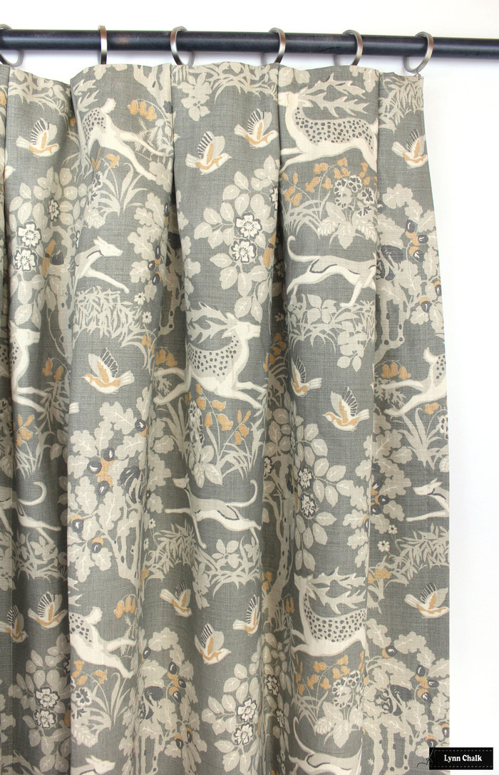 Kravet Lee Jofa Mille Fleur Custom Drapes (Shown in Silver-comes in 4 colors)