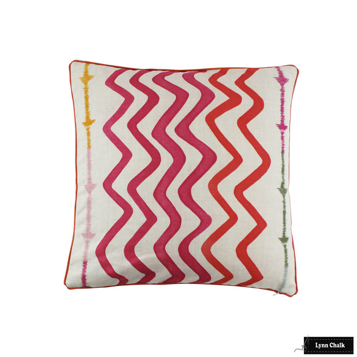 Christopher Farr Rick Rack Hot Pink with Samuel & Sons French Piping Lacquer Pillow (20 X 20)