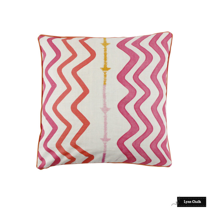 Christopher Farr Rick Rack Hot Pink with Samuel & Sons French Piping Lacquer Pillow (22 X 22)