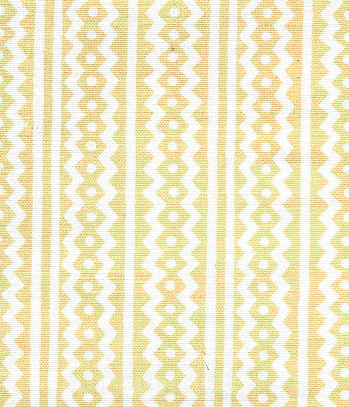 Quadrille Alan Campbell Ric Rac Gold On White Linen Cotton AC935WH-02