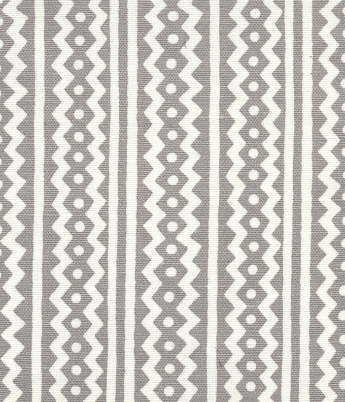 Quadrille Alan Campbell Ric Rac Gray On White Linen Cotton AC935-03