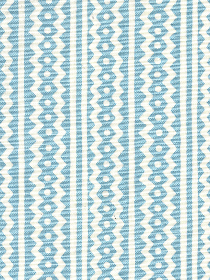 Quadrille Alan Campbell Ric Rac Pale Sky Blue On Tinted Linen Cotton AC935-11