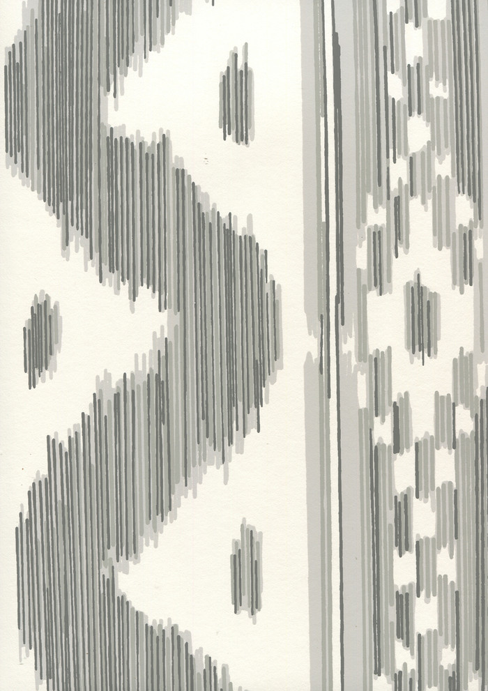 Quadrille China Seas Bali Hai Wallpaper Gray on Almost White 2020-07AWP