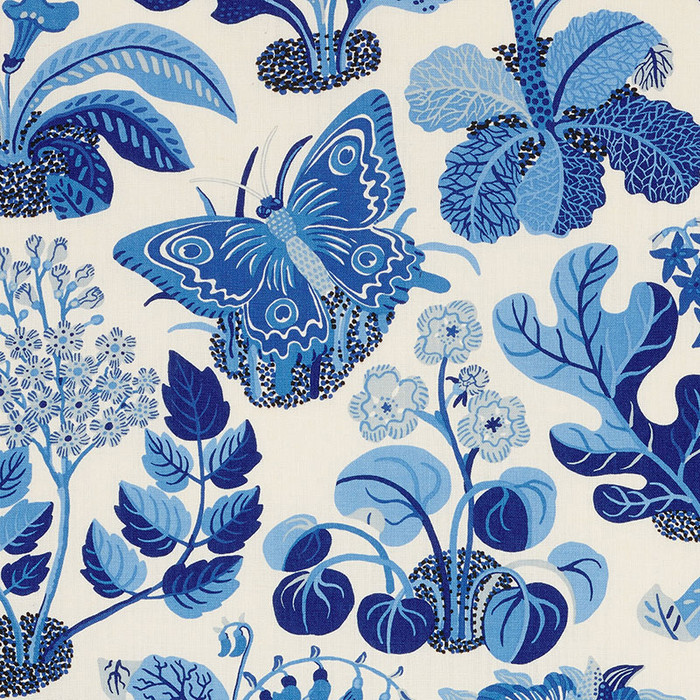 Schumacher Fabric Exotic Butterfly in Marine 176183