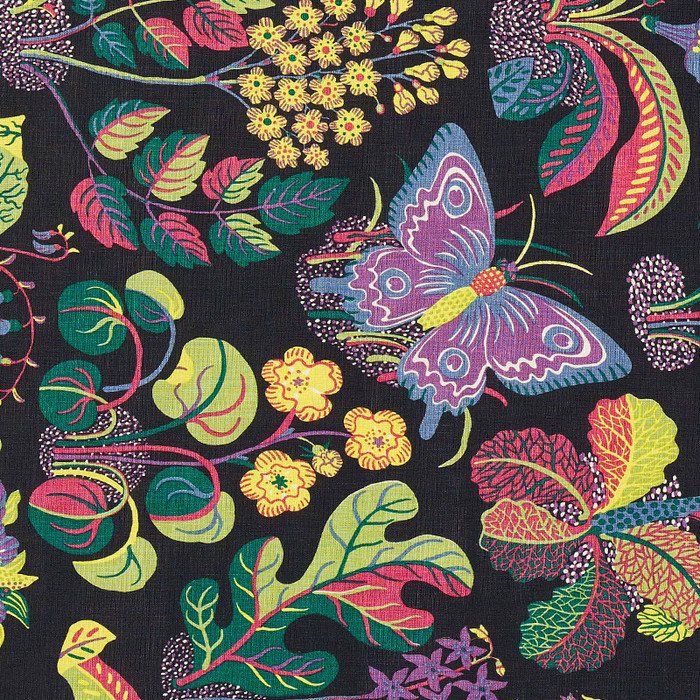 Schumacher Fabric Exotic Butterfly in Black 176182