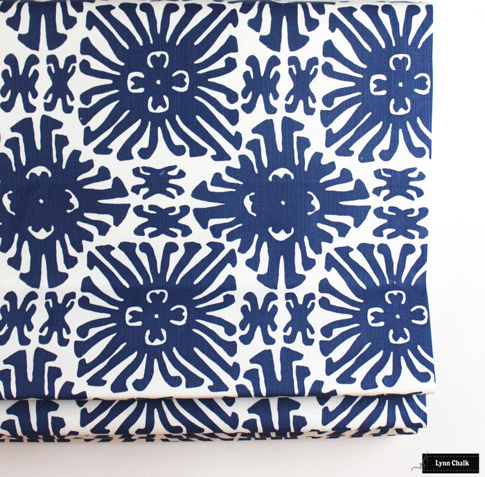 Roman Shade in Sigourney Navy on White