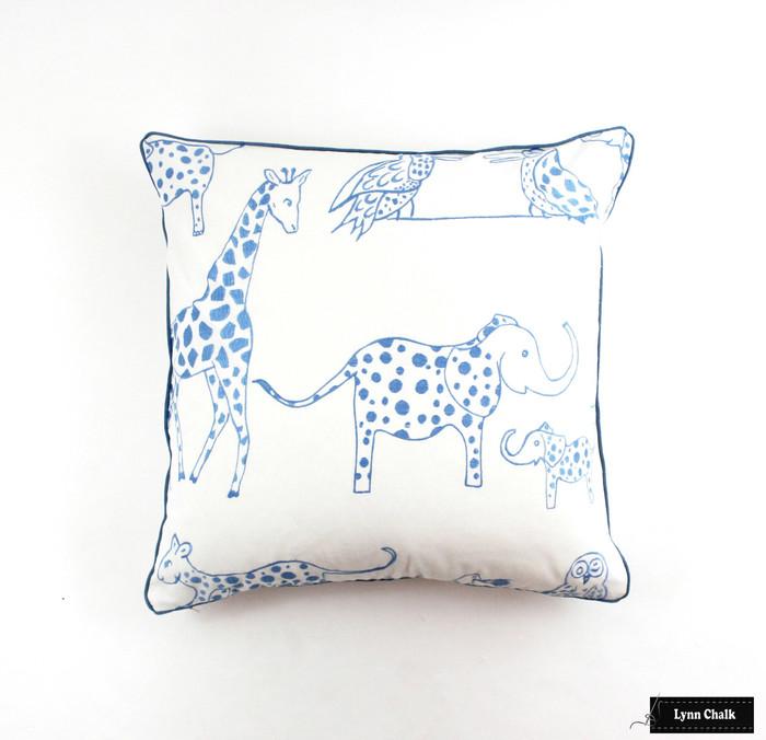 Pillow (24 X 24) in Lulu DK Jungle Jubilee Sky Blue with Samuel & Sons Azure Welting