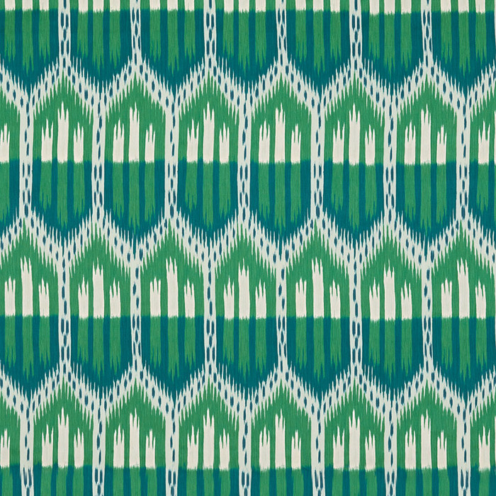 Schumacher Bukhara Ikat Emerald & Peacock 176083