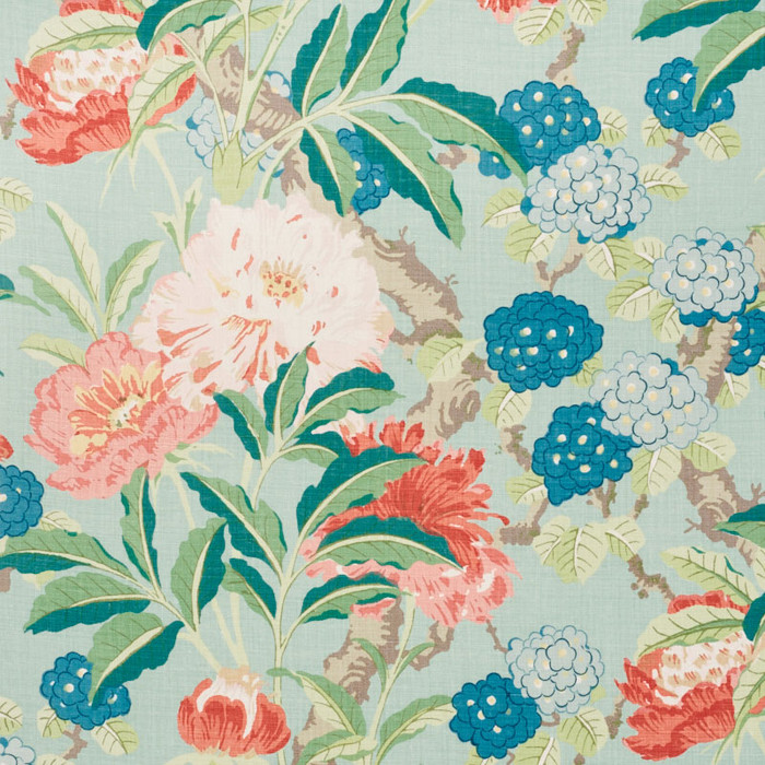 Schumacher Enchanted Garden in Aqua 177390