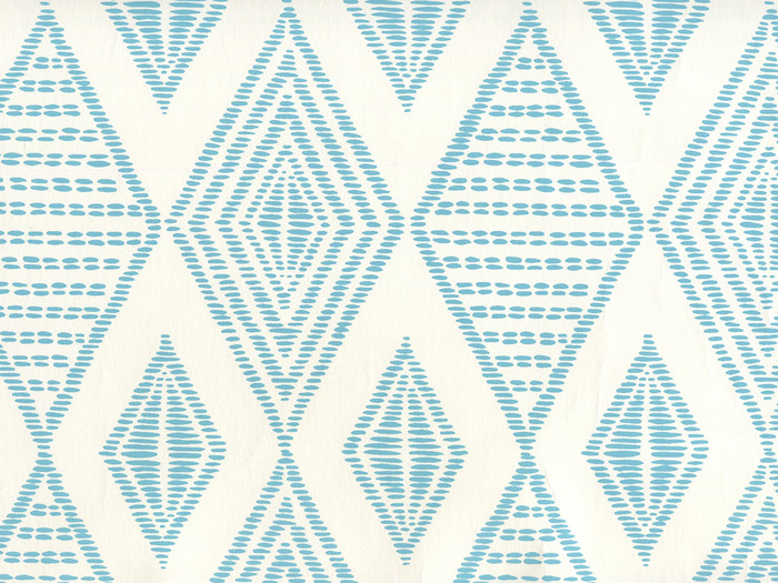 Quadrille Wallpaper Embroidery Medium Turquoise on Almost White AP850-03