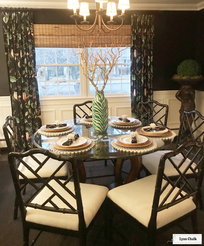 Kate Spade for Kravet OWLISH Custom Drapes in Dining Room (shown in Black-comes in 4 colors)