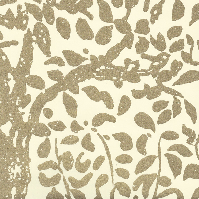 Quadrille Wallpaper Arbre de Matisse  Gold Metallic on Off White 2030-10MWP