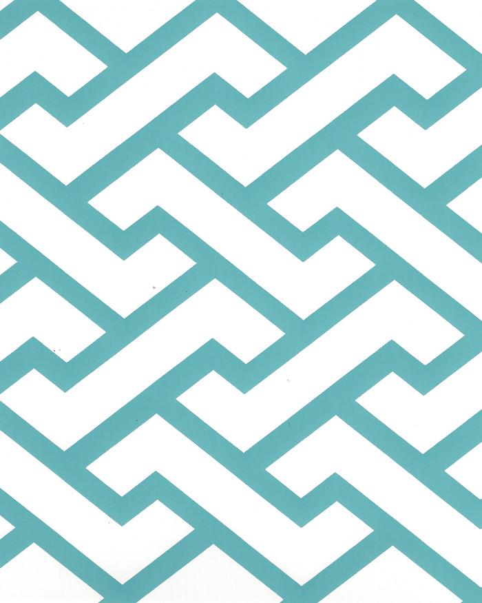 Quadrille Aga Wallpaper Turquoise on Almost White  6340-07WP