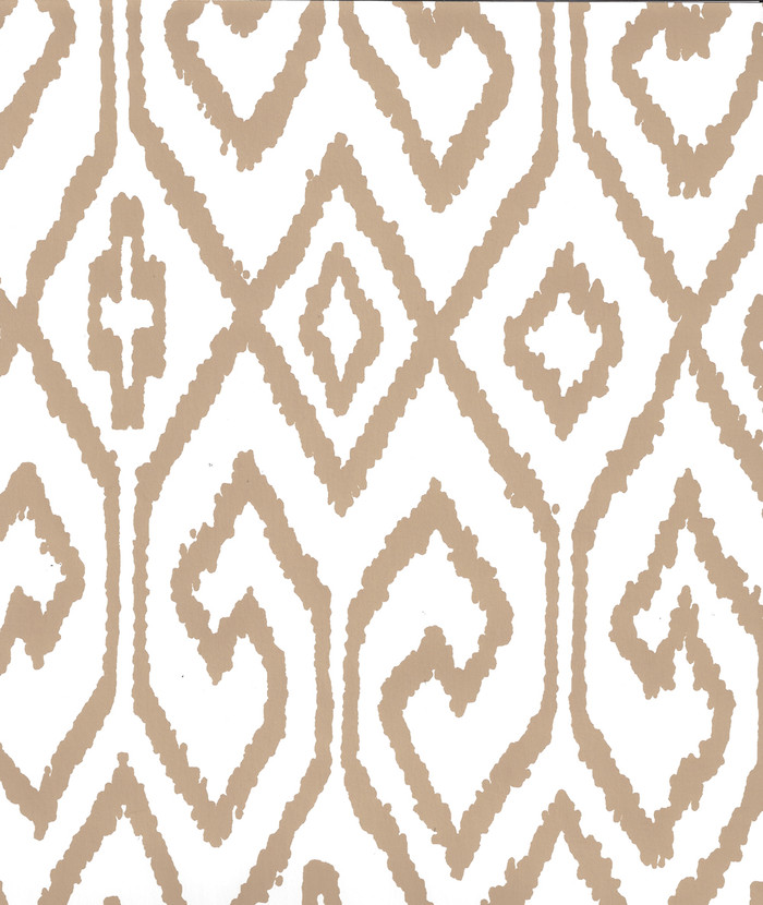 Quadrille Aqua IV Wallpaper Camel on White 7240-01WP