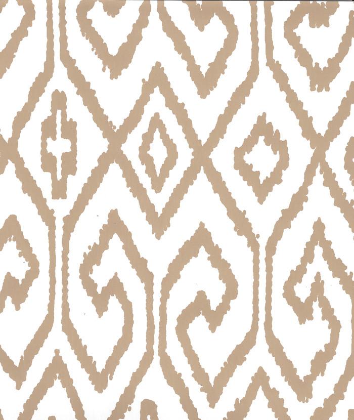 Quadrille Aqua IV Wallpaper Camel on White 7240-01WP