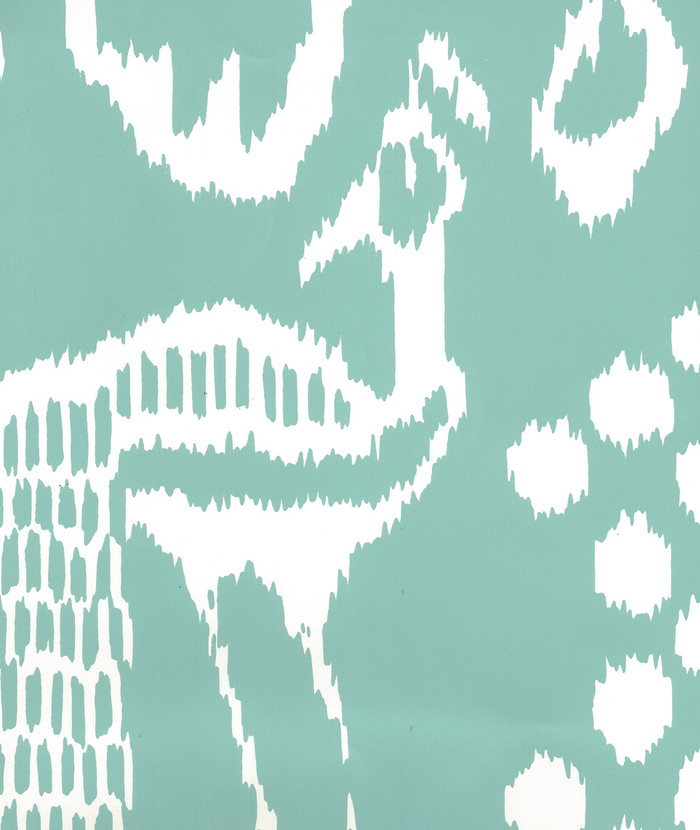 Quadrille Bali II Wallpaper Turquoise on Almost White 2430-31WP