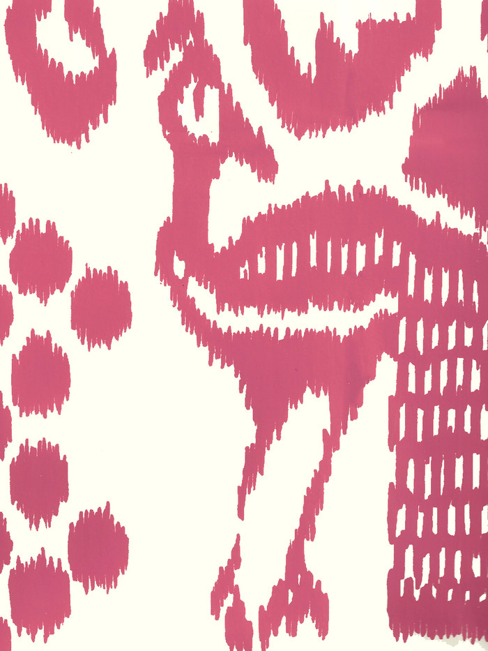 Quadrille Bali Isle Wallpaper Magenta on  Off White 2435-46WP