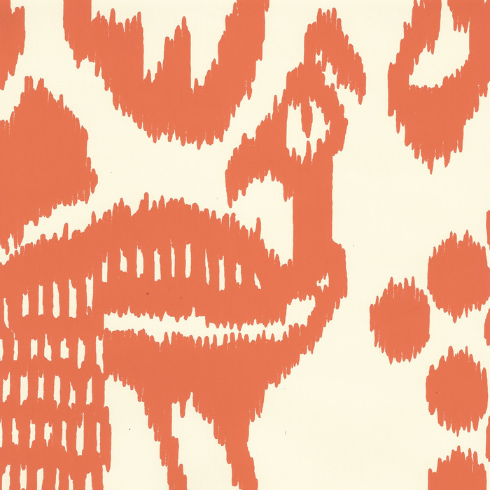 Quadrille Bali Isle Wallpaper Orange on Off White 2435-45WP