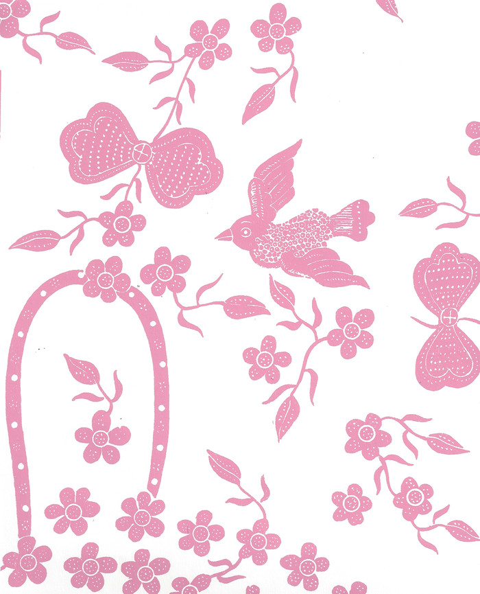 Quadrille Birds II Wallpaper Pink on White 5050-05WP