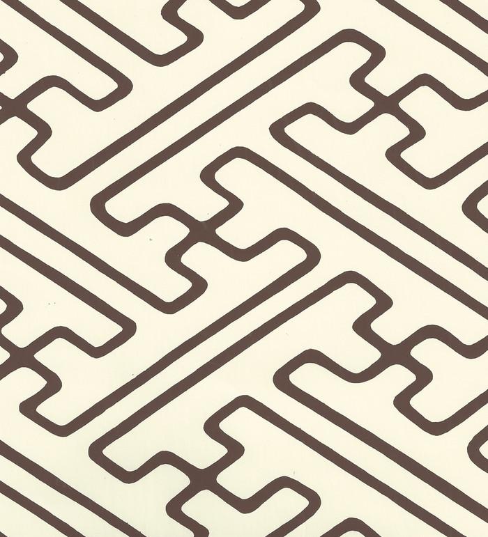 Quadrille Saya Gata Lines Wallpaper Brown on Off White AP207-42