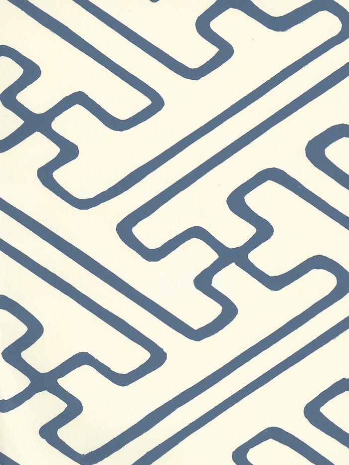 Quadrille Saya Gata Lines Wallpaper Navy Almost White AP207-16