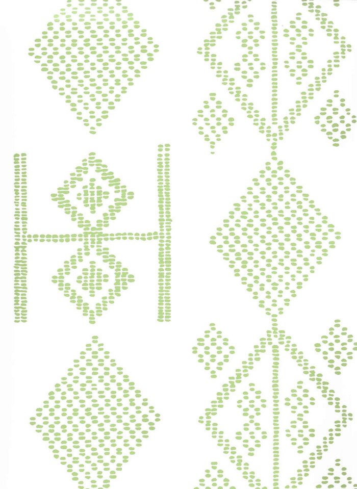 Quadrille Vacances Wallpaper Jungle Green On  Almost White AP890-06AWP