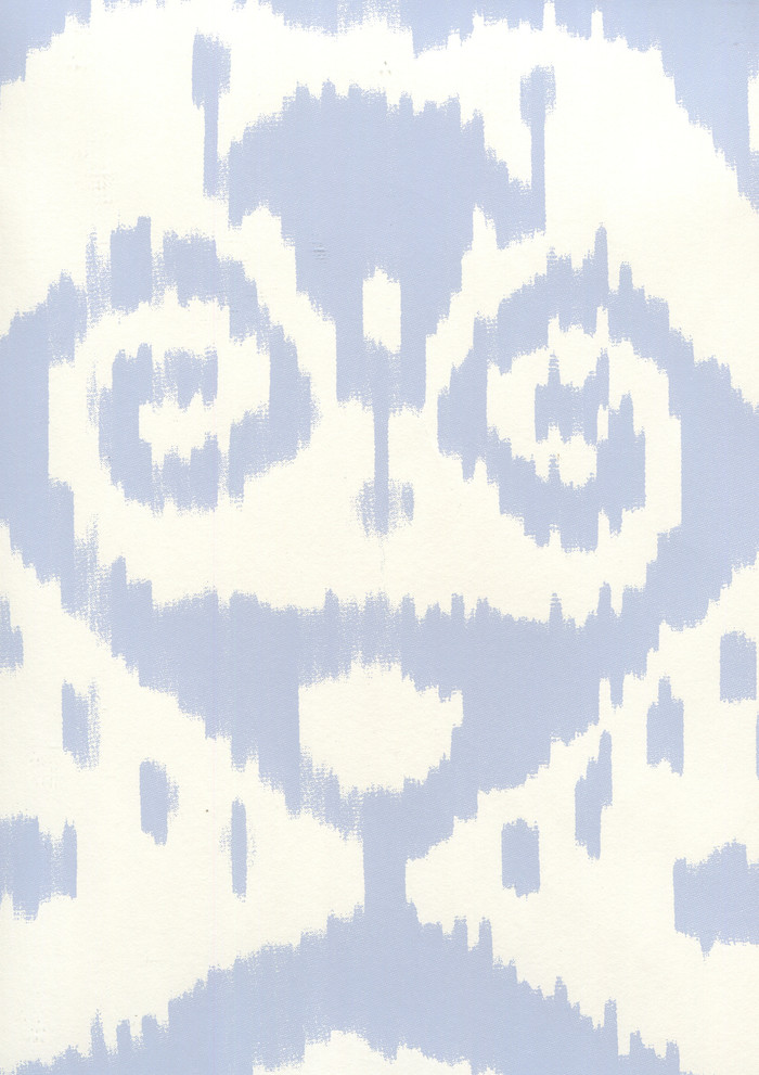 Quadrille Malaya Wallpaper Zibby Blue on Almost White  306042W