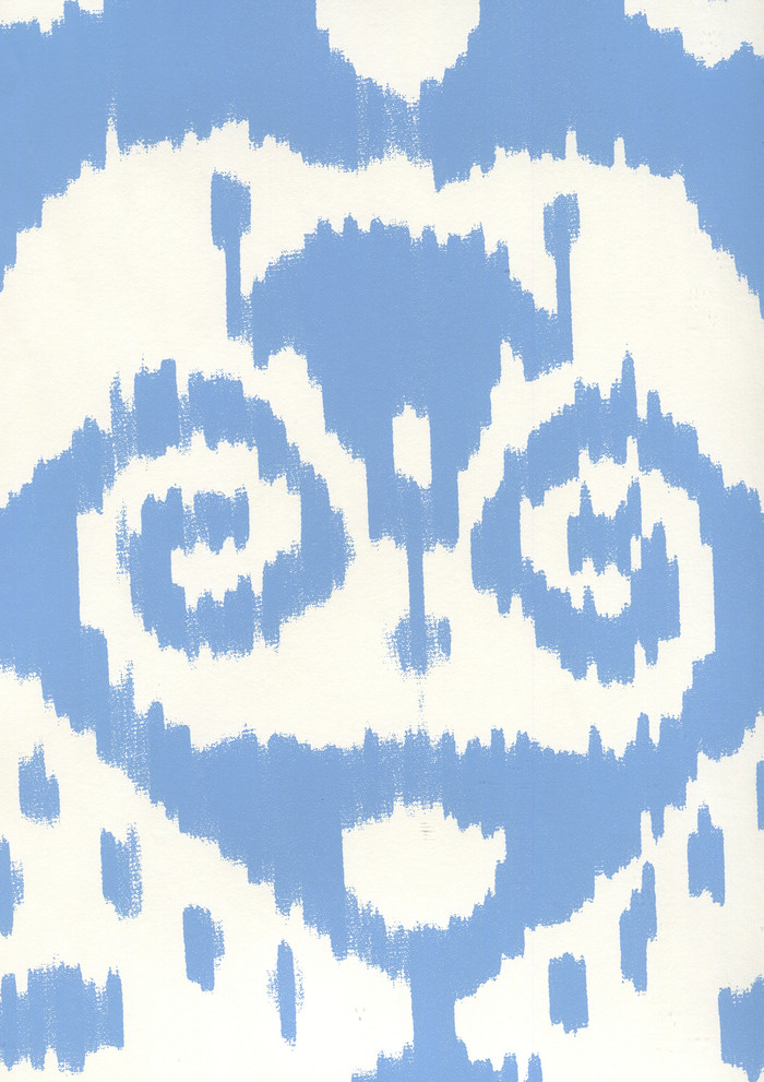 Quadrille Malaya Wallpaper New Blue on Almost White 306048W