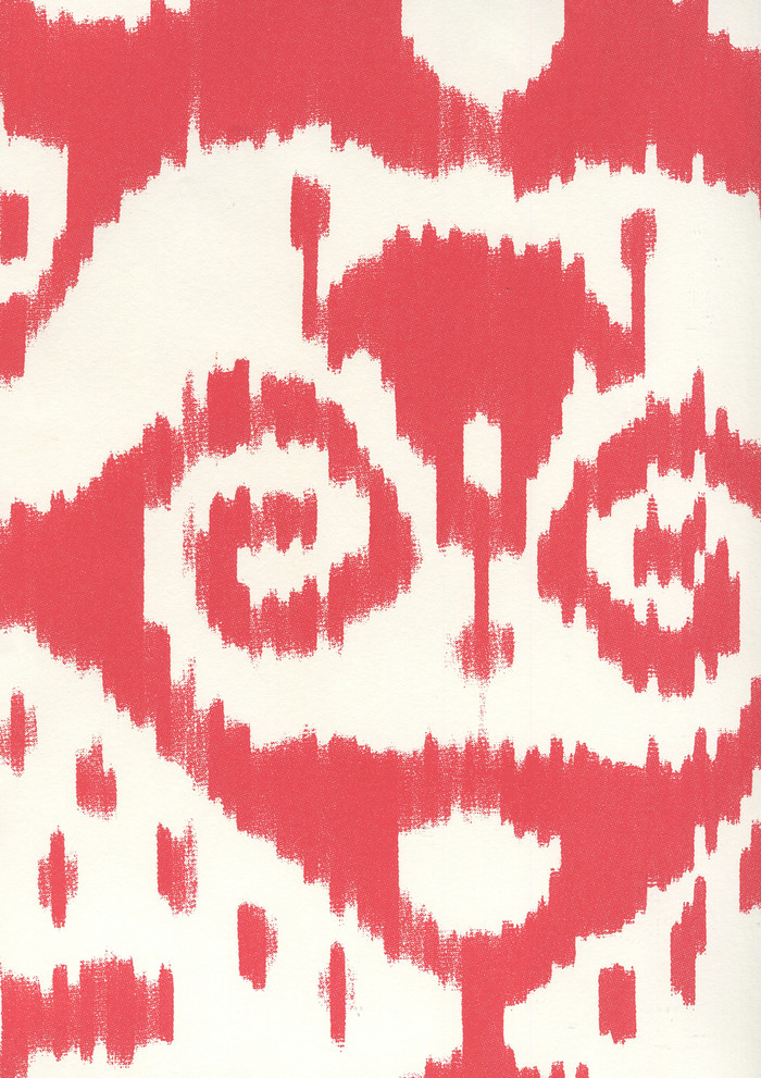 Quadrille Malaya Wallpaper Red on Almost White 306050W