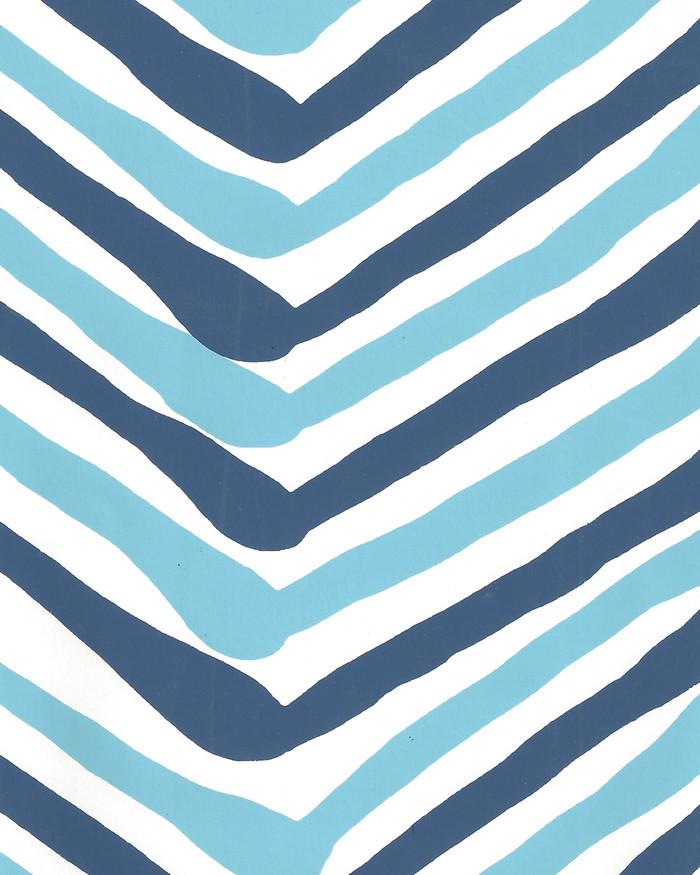 Quadrille Zig Zag Multicolor Wallpaper New Blue Navy on Almost White AP950-04