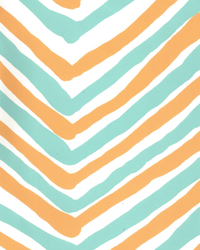 Quadrille Zig Zag Multicolor Wallpaper Turquoise Yellow on Almost White AP950-10