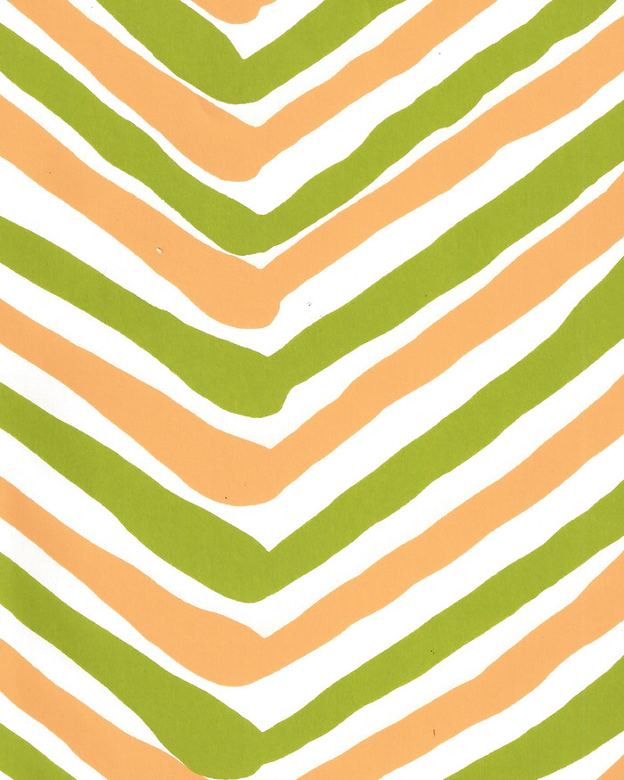 Quadrille Zig Zag Multicolor Wallpaper Lime Yellow on Almost White AP950-09