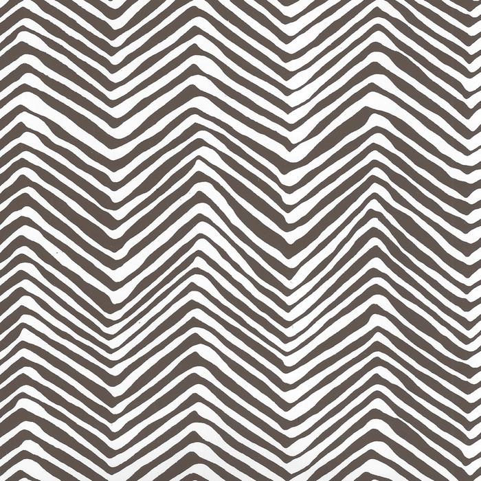 Quadrille Petite Zig Zag Wallpaper Brown on White Vinyl AP303-11PV
