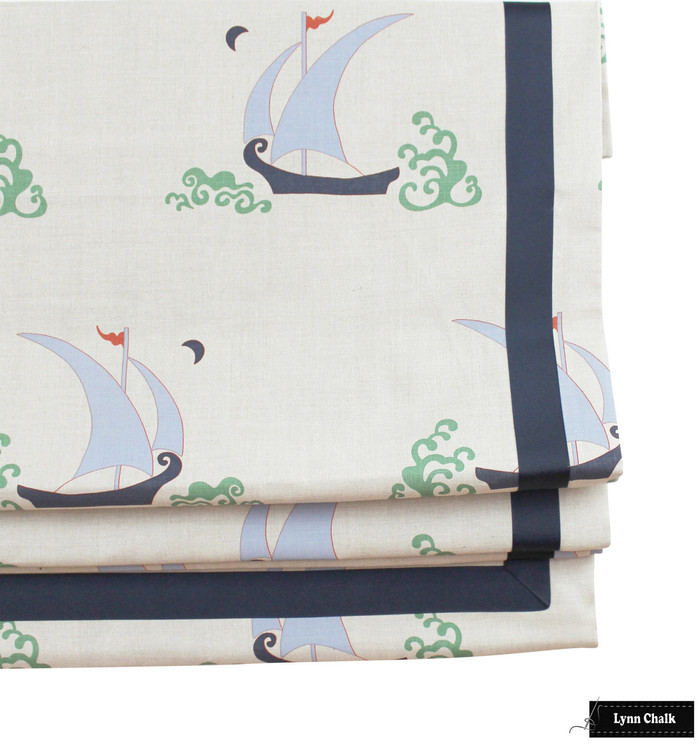 Katie Ridder Beetlecat Roman Shades (shown in Lavender Blue with Navy Trim - also comes in Apricot and Ultramarine)