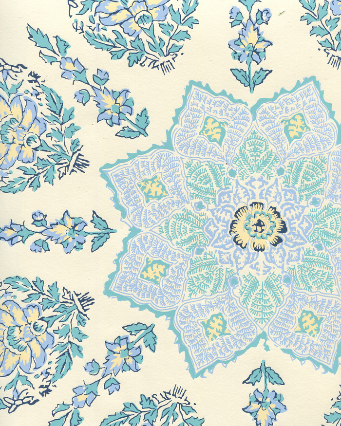 Quadrille Persepolis Wallpaper Celeste/Blue on Off White HC1490W-01WP