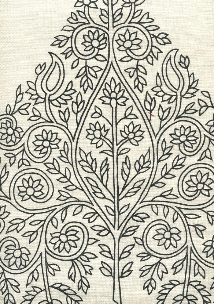 Quadrille Taj Wallpaper Black on Off White HC1480P-05WP
