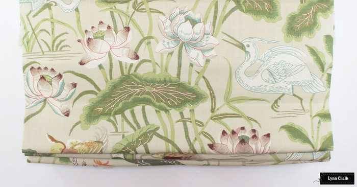 Lotus Garden in Parchment Roman Shade