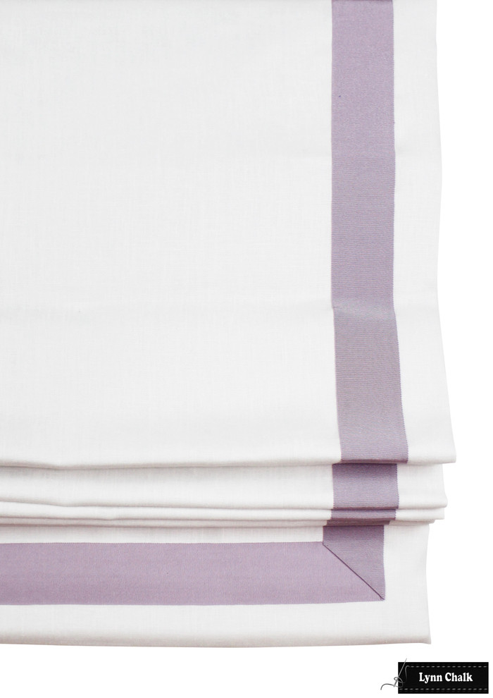 White Roman Shade with Samuel & Sons Lilac Purple Trim