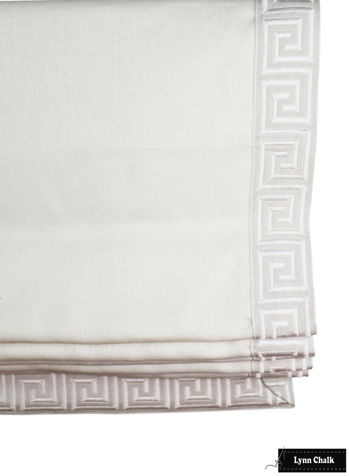 """Oyster Linen with Samuel & Sons Aristotle Greek Key in Oyster Roman Shade (2.75"""" Wide)"""