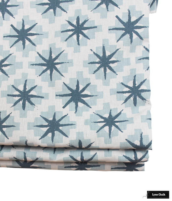 Roman Shade in Peter Dunham Starburst Blue Blue