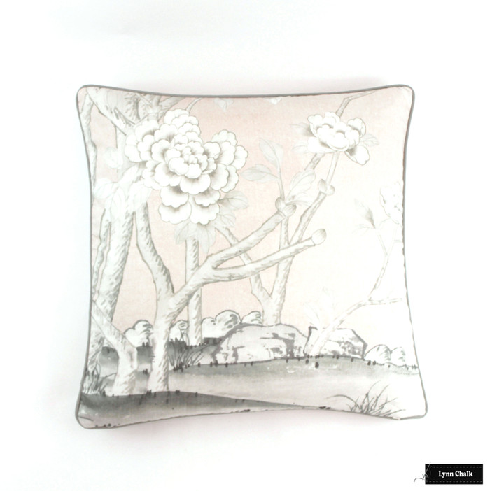 Chinois Palais Blush Conch  24 X 24 pillows with Robert Allen Kilrush II Nickel Linen Welting