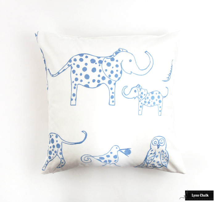 ON SALE 50% Off- Lulu DK for Schumacher Jungle Jubilee 18 X 18 Knife Edge Pillow in Sky (Front Only- Made To Order)