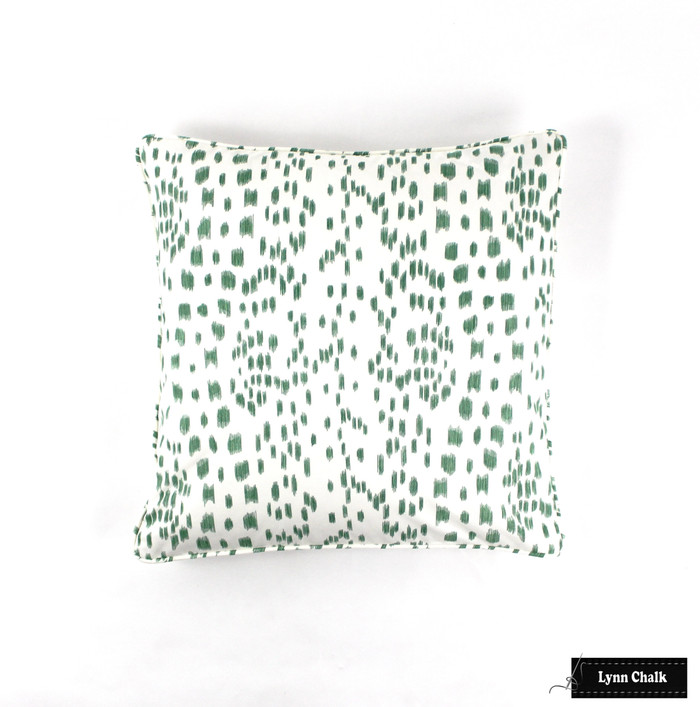 ON SALE 40% Off - Brunschwig & Fils Les Touches  Pillow in Green with Self Welt (20 X 20 Both Sides) Made To Order