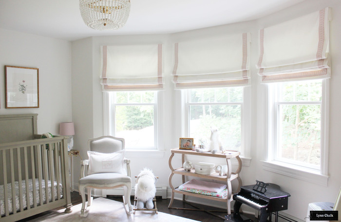Custom Roman Shades in Schumacher Elliott in Cream 69492 with Schumacher Arches Trim Blush