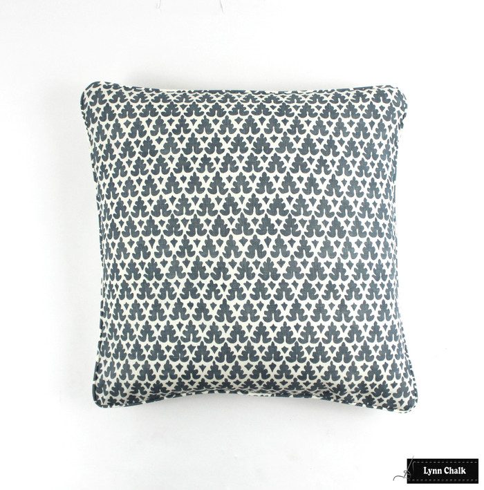 Quadrille Volpi Slate Navy on Tint 3040445F Pillows with Self Welting